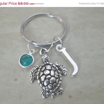 ON SALE Sea Turtle Keychain With Birthstone And Initial Charm, Nature Keychain, Party Favors, Wedding Favors