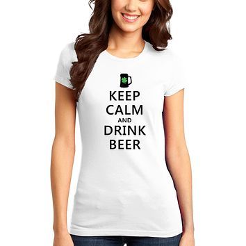 Keep Calm and Drink Beer Adult Womens St. Patrick's Day Ladies Juniors T-Shirt