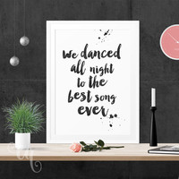 Wall art decor One Direction quote, minimalistic typography poster