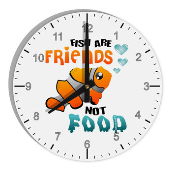 "Fish Are Friends Not Food 8"" Round Wall Clock with Numbers"