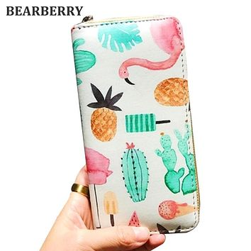 BEARBERRY 2017 high quality women leather clutch wallets brand printing flamingo purse 12 styles to choose card holder MN169