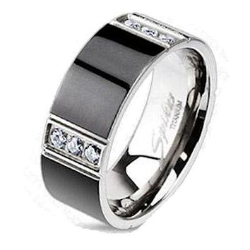 Men's Black Titanium Cz Wedding Band Wedding Ring