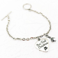 Christmas Jewelry  - Stainless Steel Bracelet - Holiday Jewelry - Our First Christmas - New Wife Gift - Gift for Spouse - Birthstone Gift