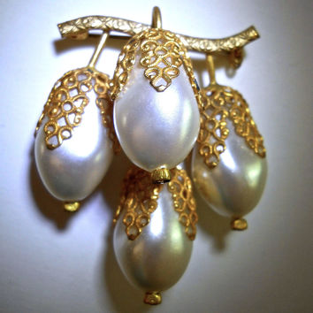 Faux Pearl Cluster Drop Brooch, Gold Tone, Filigree Caps, Germany, Vintage