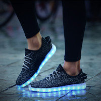 2016 Women Men chaussure tenis Led simulation Light up  trainers led basket shoes Luminous with usb for adults femme Female