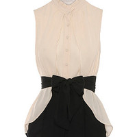 Jumpo Black and Cream High Neck Tie Waist Shirt