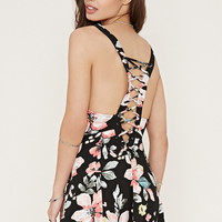 Lace-Up Floral Print Dress
