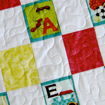 Alphabet Quilted Baby Blanket Wall Hanging  ABC Boy