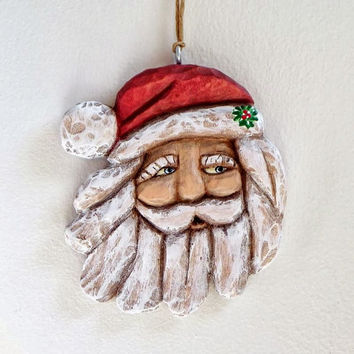 Hand Carved Santa Ornament, Red