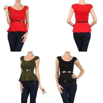 Sexy Solid Scoop Neck Cap Sleeve Belted Frill Peplum Skater Top Shirt Blouse