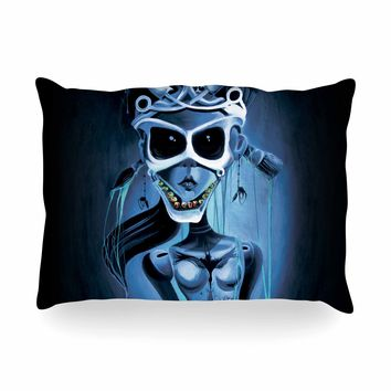 "Ivan joh ""Tattoo Girl"" Black Blue Pop Art Fantasy Illustration Painting Oblong Pillow"