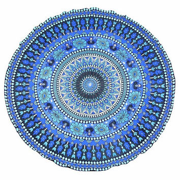 150cm Bohemian Style Thin Chiffon Beach Yoga Towel Mandala Round Bed Sheet Tapestry Tablecloth 23 Style