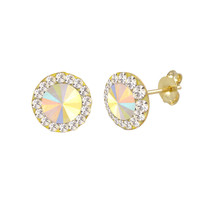 10k Yellow Gold Multicolor AB Prism Stud Earrings 8mm