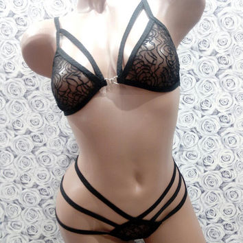 Lace lingerie, Women Sexy Lingerie, Black Lace Lingerie, Sheer Lingerie, Strappy Lingerie Set, Honeymoon Lingerie, Harness Lingerie, Sexy