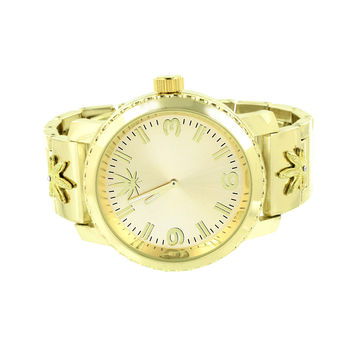 Marijuana Leaf Design Watch 14k Yellow Gold Finish Mens Brand New Techno Pave