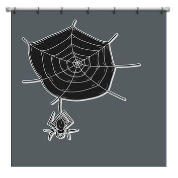Cute Spider on Web Halloween Shower Curtain