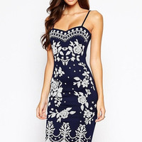 new  arrival women dress Navy Spaghetti Straps Floral Print Midi Dress = 5739036801