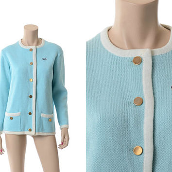 Vtg 60s David Crystal Lacoste Cardigan Sweater 1960s Baby Blue and White Izod Alligator Preppy Tennis Knit Jacket / Medium