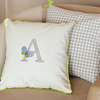 PERSONALIZED LETTER pillow cover, excelent embroidery quality, baby pillow, soft cuddly cotton cushion cover, children decorative pillow