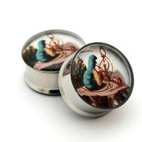 Alice in Wonderland Picture Plugs gauges - 2g, 0g, 00g, 1/2, 9/16, 5/8, 3/4, 7/8, 1 inch STYLE 4