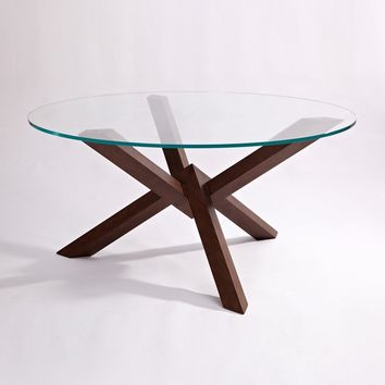 Grace Modern Dining Table - Glass & Wood