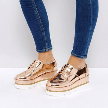 ASOS OUTSHINE Wide Fit Lace Up Flatforms at asos.com