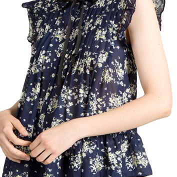 Pintuck Floral Blouse by POL Clothing - Navy