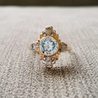 Antique Diamond Aquamarine Engagement Ring Two Toned Bezel Low Profile Filigree Flower Ring Victorian Art Deco White Yellow 14K Gold Size