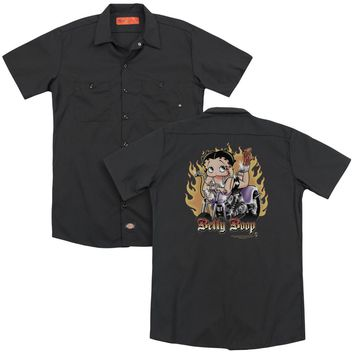 Betty Boop - Biker Flames Boop (Back Print) Adult Work Shirt