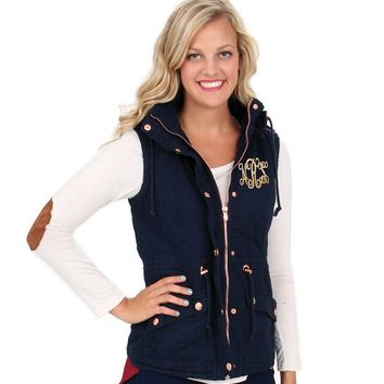 Monogrammed Navy Hooded Military Vest | Outerwear | Marley Lilly