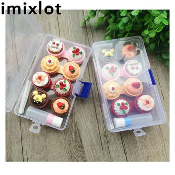 IMIXLOT 1Set Cartoon Cute Cream Cake Glasses Double Contact Lenses Box Contact Lens Case For Eyes Care Kit Holder Container Gift