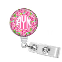 First Impressions Lilly Pulitzer Inspired Monogrammed Badge Reel