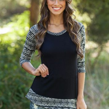 Black Geometric Sleeve Shirt