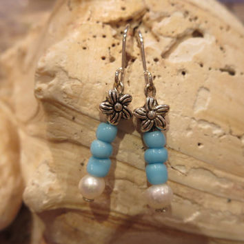 Turquoise Fresh Water Pearl Silver Dangle Pierced Earrings Women Girls Elegant Beachy Flower Boho Chic