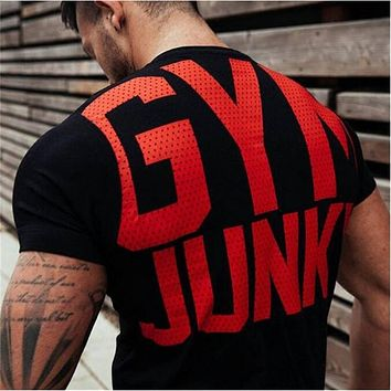 Mens summer gyms t shirt Fitness Bodybuilding Crossfit Cotton Shirts Short Sleeve workout male fashion Casual Tees Tops clothing