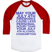 July 4th Fireworks-Unisex White/Red T-Shirt