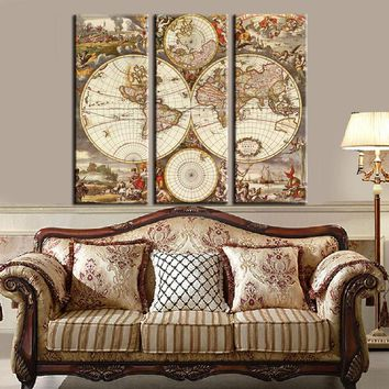 Unframed 3 Panel Vintage World Map Europe Painting Home Decor Wall Art Picture Canvas Printed Painting For Living Room Artwork
