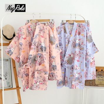 Spring 100% cotton short sleeves women pajamas sets Japanese kimono sakura rabbit pyjamas simple pijama Robes shorts for women