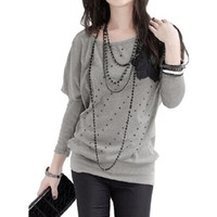 Allegra K Lady Round Neck Batwing Sleeve Applique Shirt Top New,Grey,L (US 14)