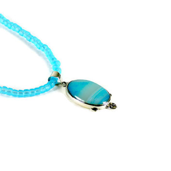 Blue Lace Agate Pendant Mounted in Silver with Aqua Necklace of Seed Beads