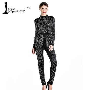 PEAPUNT Free shipping Missord 2015 Sexy two-piece design Long sleeve geometry studded jumpsuit  FT3618