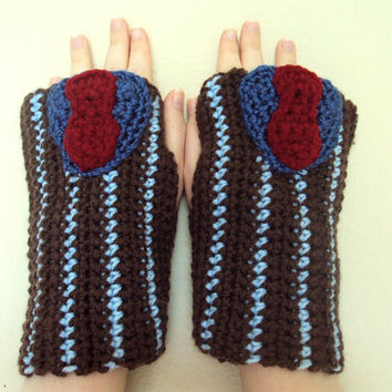 Crocheted Doctor Who Inspired Tenth Doctor / David Tennant Fingerless Gloves / Wrist Warmers - Women's