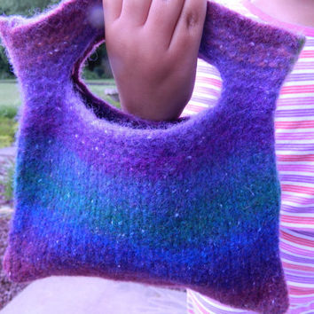 Hand knitted felt purse, handbag.