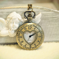 Pocket Watch Vintage Compass Style Necklace Locket Pendant Chain Head Portrait (TX0112)