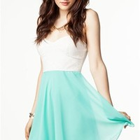 A'GACI Flirty Lace Chiffon Skater Dress - DRESSES