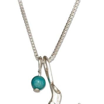 "Sterling Silver 18"" Sea Lion Pendant Necklace With Blue Riverstone Ball"