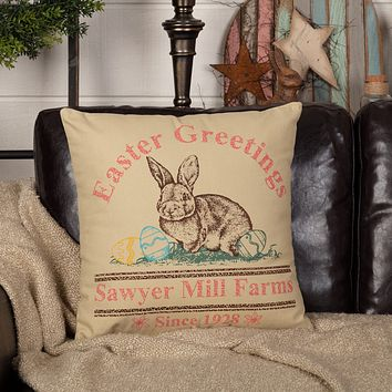 Sawyer Mill Easter Greetings Bunny Pillow