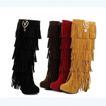Autumn Winter Fashion Sexy Tassel Woman High Heels Boots = 1946426180