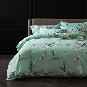 Green Floral Egyptian Cotton Bedding Set