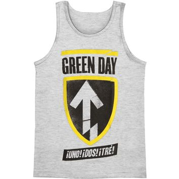 Green Day Men's  Badge Mens Tank Grey